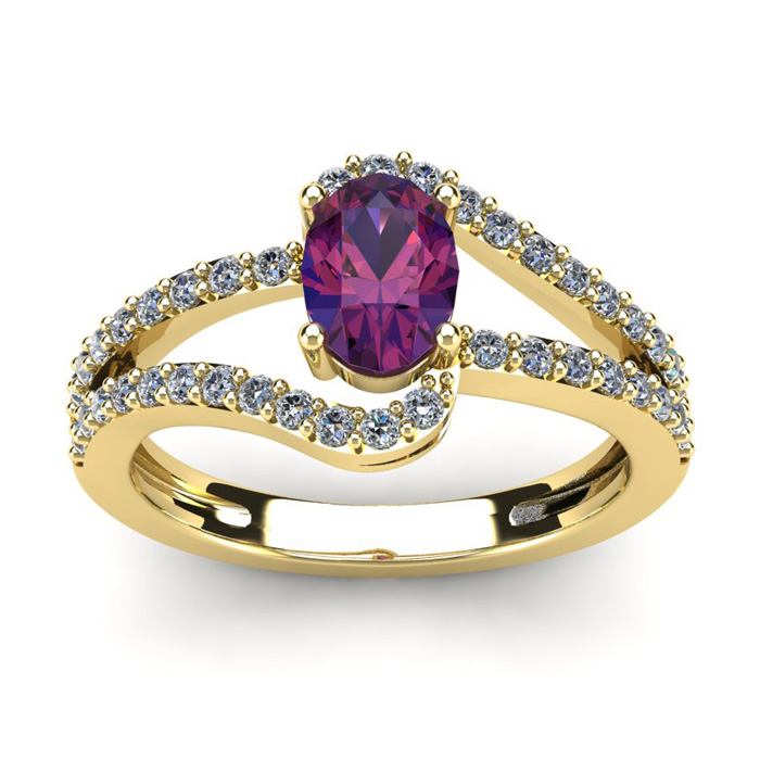 1 Carat Oval Shape Amethyst & Fancy Diamond Ring in 14K Yellow Go