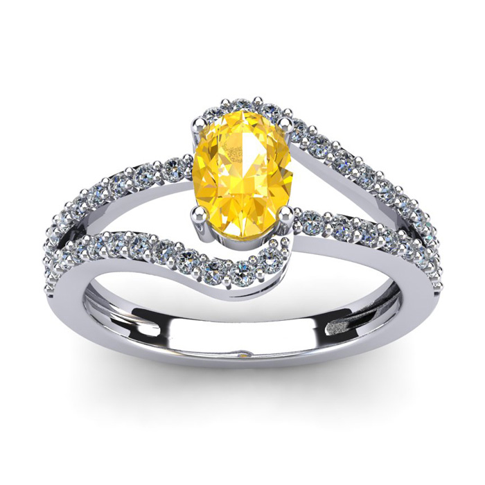 1 Carat Oval Shape Citrine & Fancy Diamond Ring in 14K White Gold