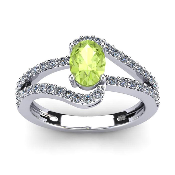 1 1/3 Carat Oval Shape Peridot & Fancy Diamond Ring in 14K White