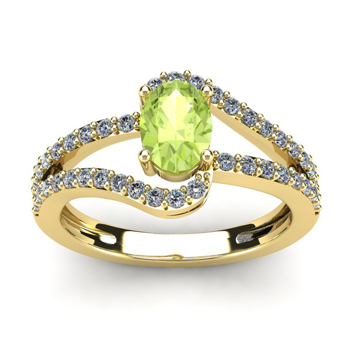 1 1/3 Carat Oval Shape Peridot & Fancy Diamond Ring in 14K Yellow Gold (3.3 g), I/J by SuperJeweler