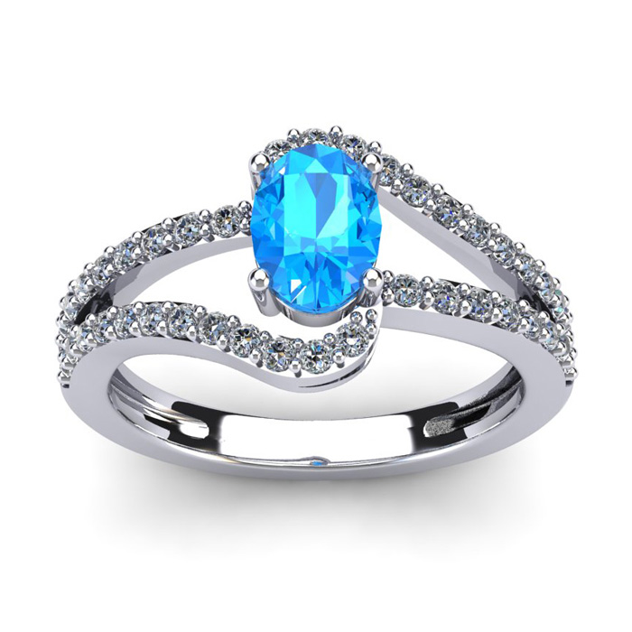 1.5 Carat Oval Shape Blue Topaz & Fancy Diamond Ring in 14K White