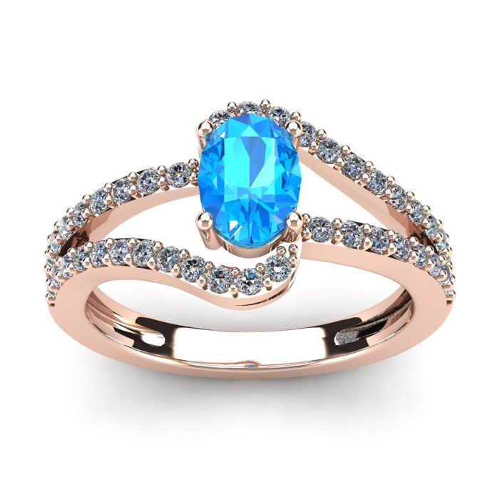 1.5 Carat Oval Shape Blue Topaz & Fancy Diamond Ring in 14K Rose