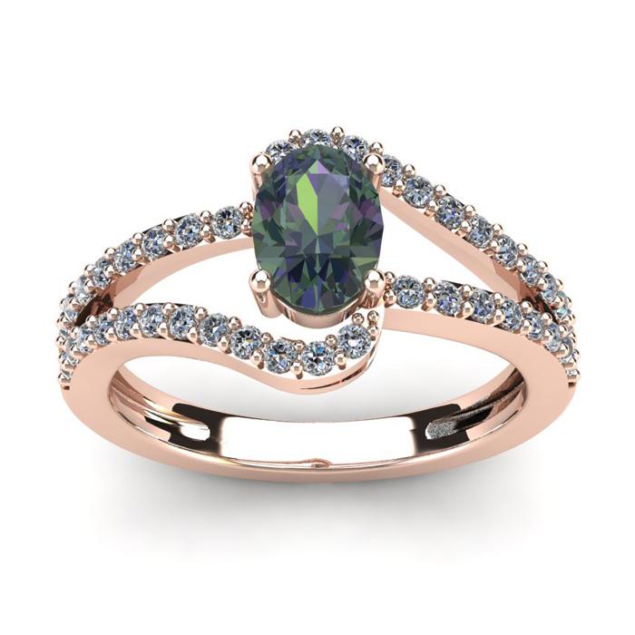 1.5 Carat Oval Shape Mystic Topaz & Fancy Diamond Ring in 14K Ros