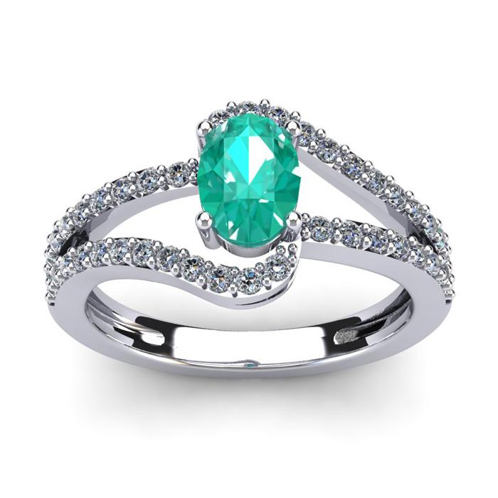 1.25 Carat Oval Shape Emerald Cut & Fancy Diamond Ring in 14K Whi