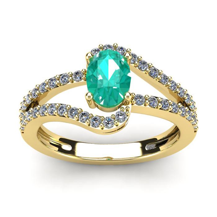 1.25 Carat Oval Shape Emerald Cut & Fancy Diamond Ring in 14K Yel