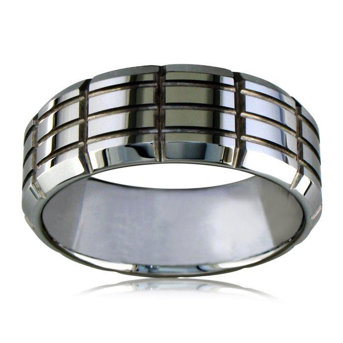 Engraved tungsten wedding bands