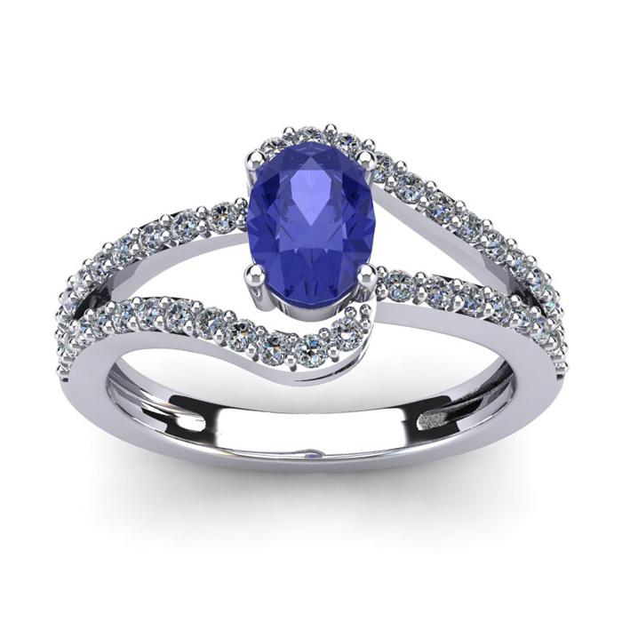 1 1/3 Carat Oval Shape Tanzanite & Fancy Diamond Ring in 14K Whit