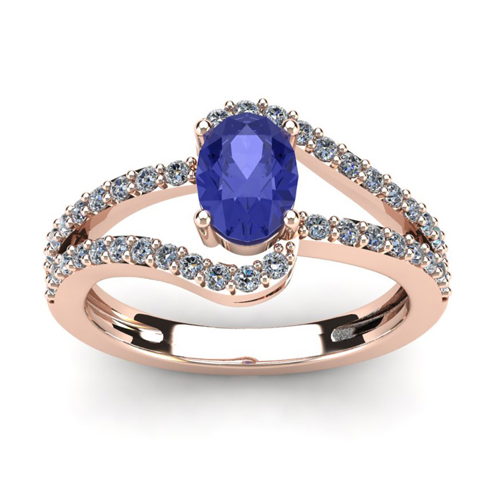 1 1/3 Carat Oval Shape Tanzanite & Fancy Diamond Ring in 14K Rose