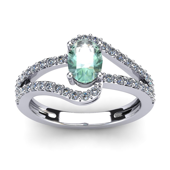 1 Carat Oval Shape Green Amethyst & Fancy Diamond Ring in 14K Whi