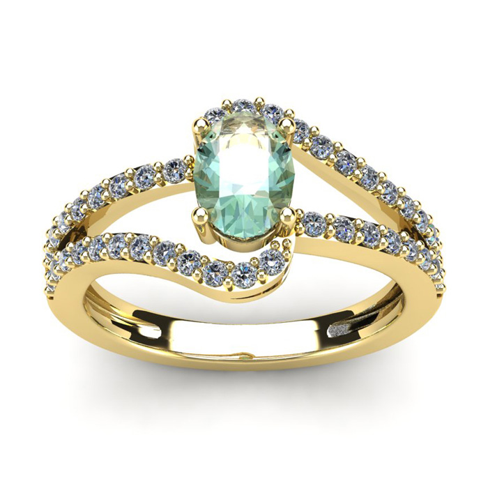 1 Carat Oval Shape Green Amethyst & Fancy Diamond Ring in 14K Yellow Gold (3.3 g),  by SuperJeweler