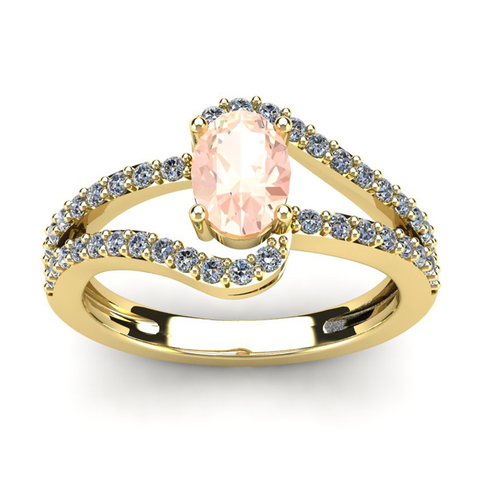 1.25 Carat Oval Shape Morganite & Fancy Diamond Ring in 14K Yello