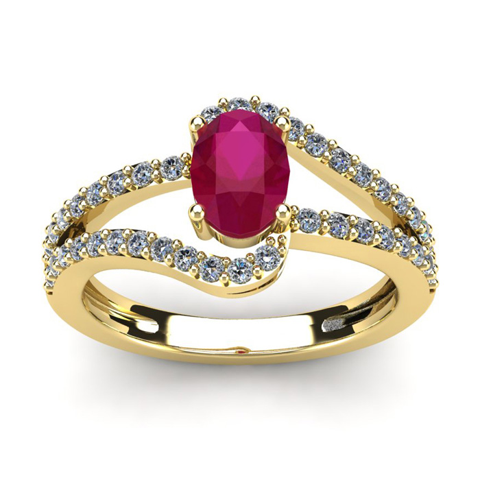 1 1/3 Carat Oval Shape Ruby & Fancy Diamond Ring in 14K Yellow Go