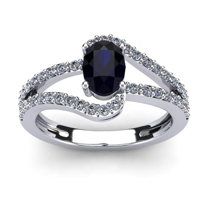 1.5 Carat Oval Shape Sapphire & Fancy Diamond Ring in 14K White G