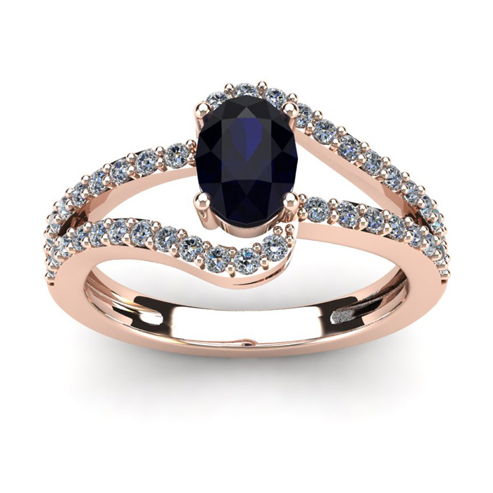 1.5 Carat Oval Shape Sapphire & Fancy Diamond Ring in 14K Rose Go