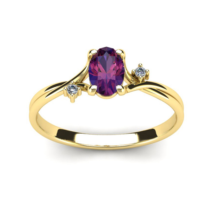 1/2 Carat Oval Shape Amethyst & Two Diamond Accent Ring in 14K Ye