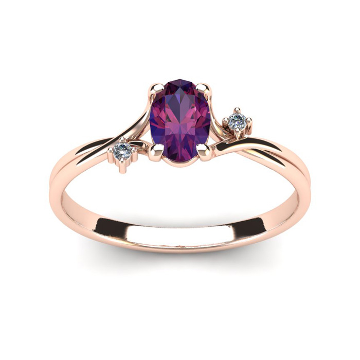 1/2 Carat Oval Shape Amethyst & Two Diamond Accent Ring in 14K Rose Gold (1.6 g), I/J by SuperJeweler