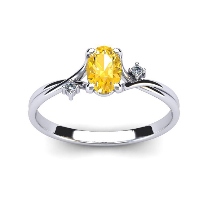 1/2 Carat Oval Shape Citrine & Two Diamond Accent Ring in 14K Whi