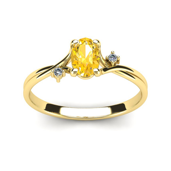 1/2 Carat Oval Shape Citrine & Two Diamond Accent Ring in 14K Yel