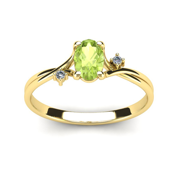1/2 Carat Oval Shape Peridot & Two Diamond Accent Ring in 14K Yel