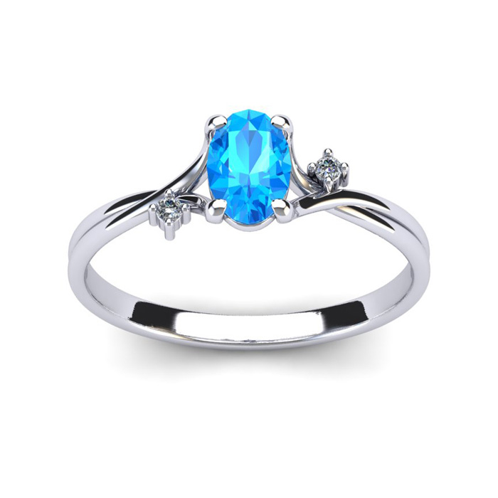 1/2 Carat Oval Shape Blue Topaz & Two Diamond Accent Ring in 14K White Gold (1.6 g), I/J by SuperJeweler