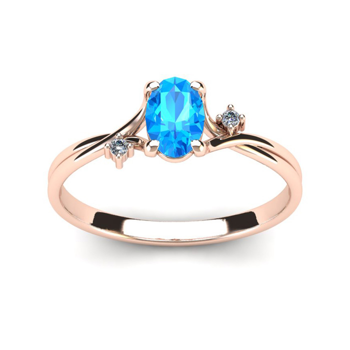 1/2 Carat Oval Shape Blue Topaz & Two Diamond Accent Ring in 14K