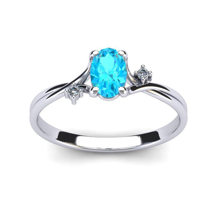 1/2 Carat Oval Shape Aquamarine & Two Diamond Accent Ring in 14K White Gold (1.6 g), I/J by SuperJeweler