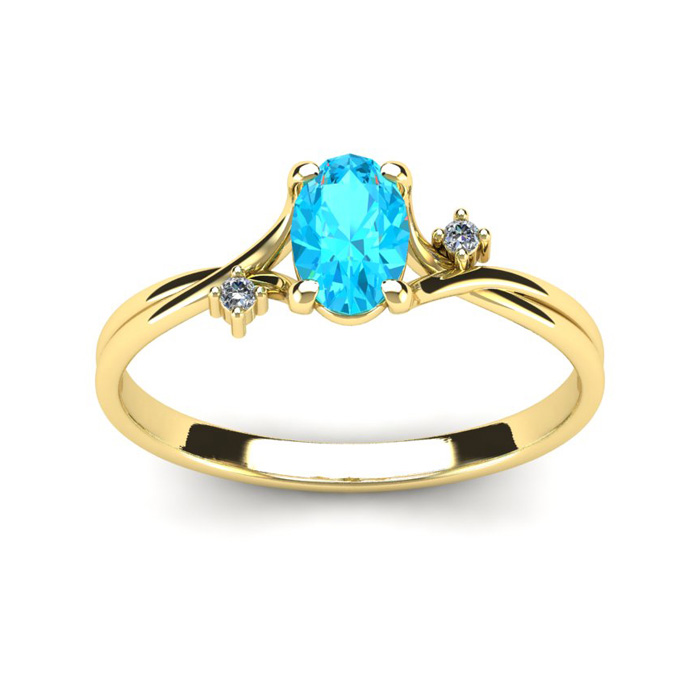 1/2 Carat Oval Shape Aquamarine & Two Diamond Accent Ring in 14K Yellow Gold (1.6 g), I/J by SuperJeweler