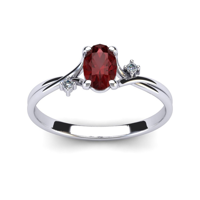 1/2 Carat Oval Shape Garnet & Two Diamond Accent Ring in 14K Whit