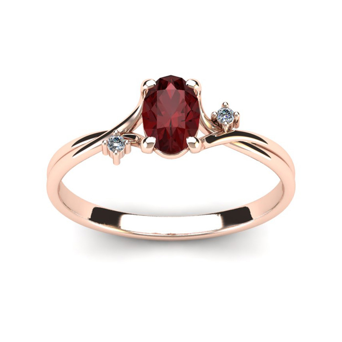 1/2 Carat Oval Shape Garnet & Two Diamond Accent Ring in 14K Rose