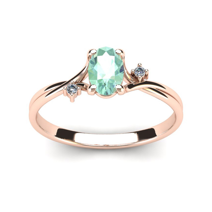 1/2 Carat Oval Shape Green Amethyst & Two Diamond Accent Ring in
