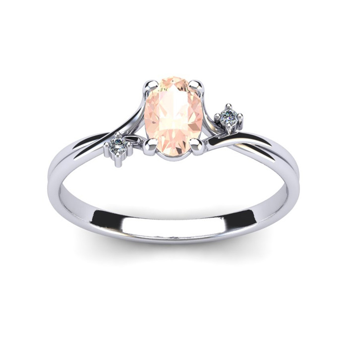 1/2 Carat Oval Shape Morganite & Two Diamond Accent Ring in 14K W