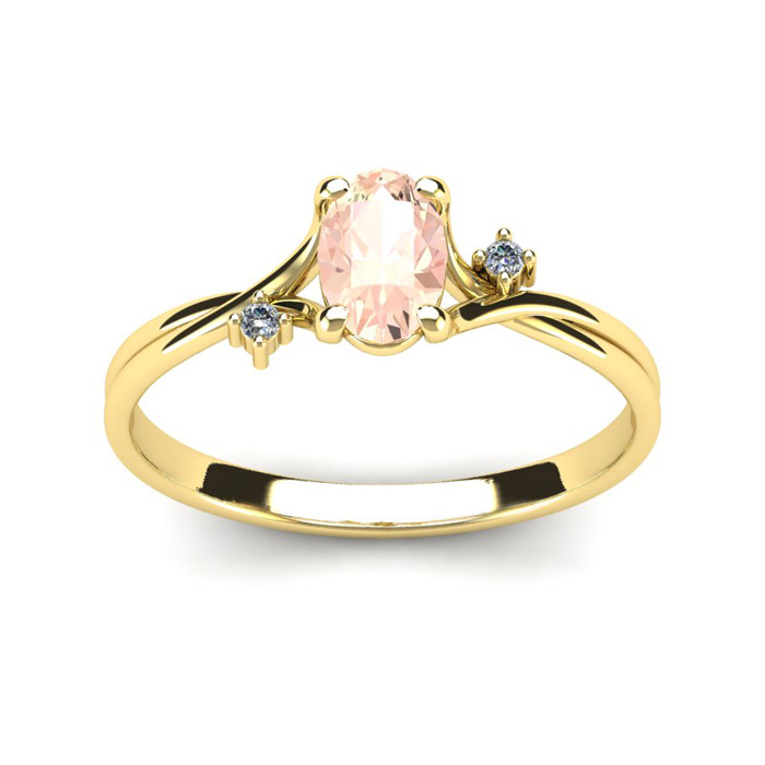 1/2 Carat Oval Shape Morganite & Two Diamond Accent Ring in 14K Y