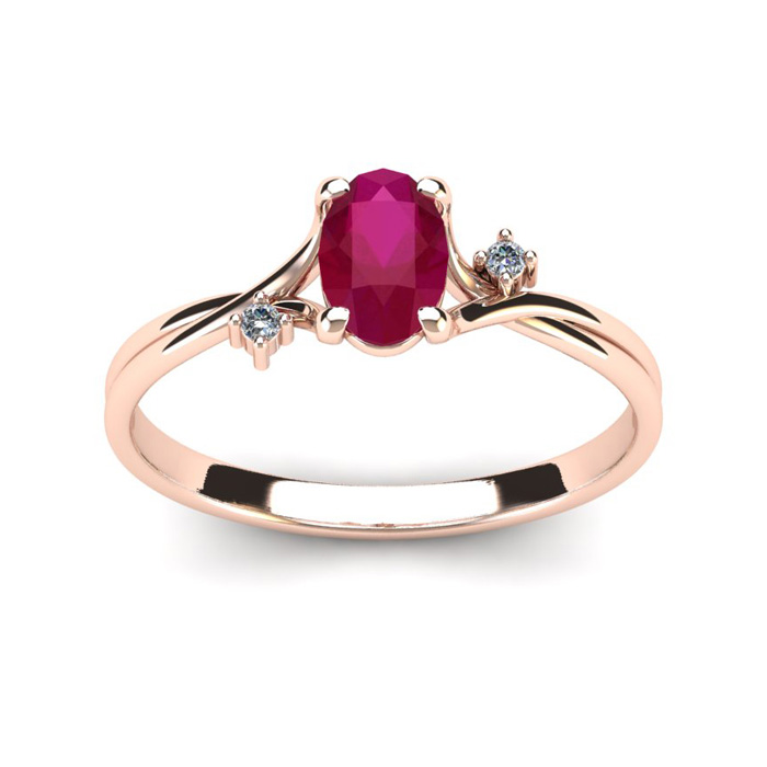 1/2 Carat Oval Shape Ruby & Two Diamond Accent Ring in 14K Rose Gold (1.6 g), I/J by SuperJeweler