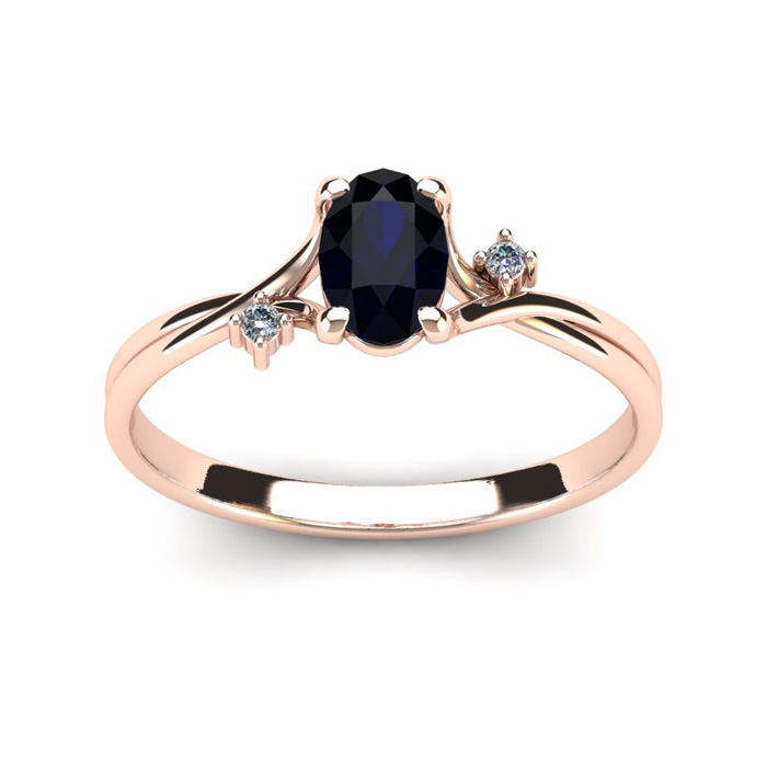 1/2 Carat Oval Shape Sapphire & Two Diamond Accent Ring in 14K Ro