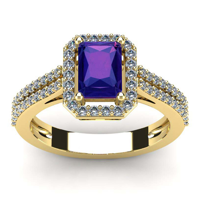 1 1/3 Carat Emerald Cut Amethyst and Halo Diamond Ring In 14 Karat Yellow Gold