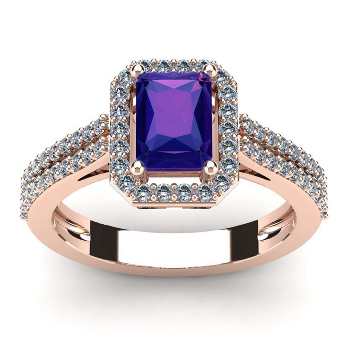 1 1/3 Carat Emerald Cut Amethyst and Halo Diamond Ring In 14 Karat Rose Gold