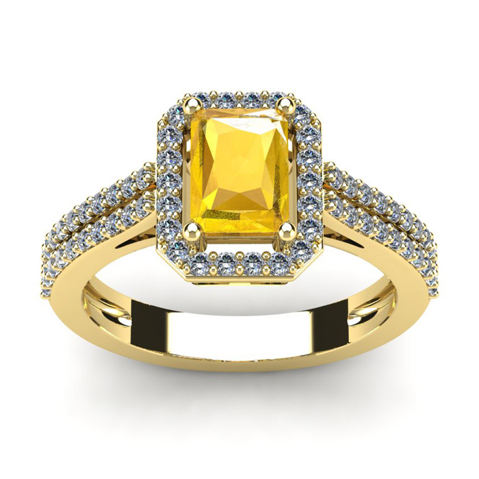 1 1/3 Carat Emerald Cut Citrine and Halo Diamond Ring In 14 Karat Yellow Gold