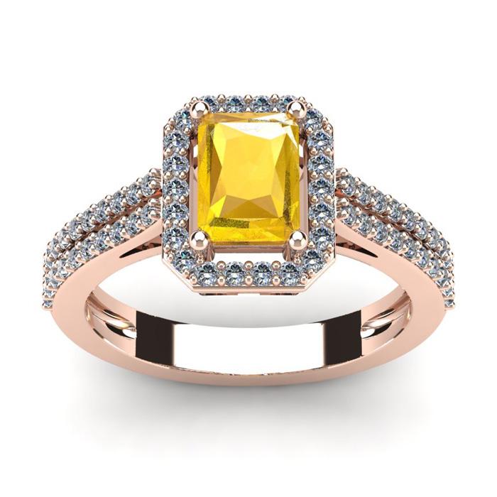 1 1/3 Carat Citrine & Halo Diamond Ring in 14K Rose Gold (3.3 g),