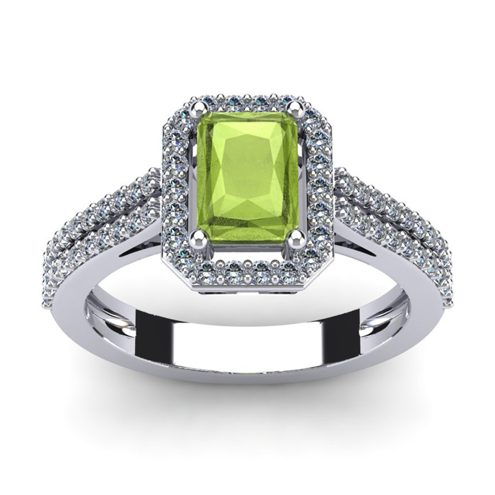 1 1/2 Carat Emerald Cut Peridot and Halo Diamond Ring In 14 Karat White Gold
