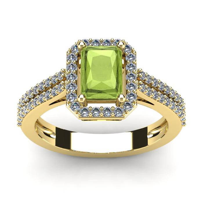 1 1/2 Carat Emerald Cut Peridot and Halo Diamond Ring In 14 Karat Yellow Gold
