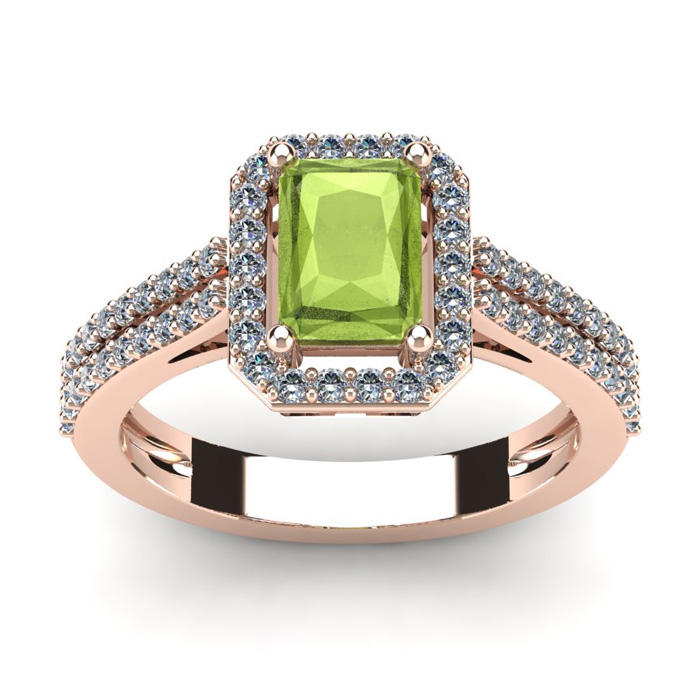 1 1/2 Carat Emerald Cut Peridot and Halo Diamond Ring In 14 Karat Rose Gold