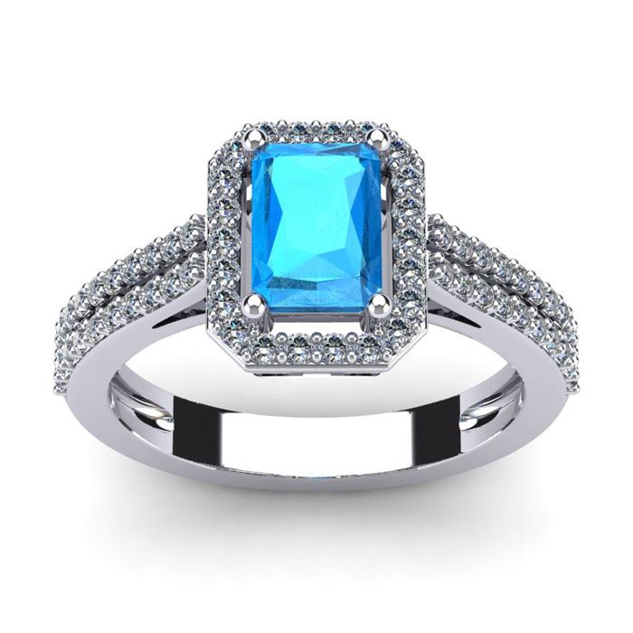 1.5 Carat Blue Topaz & Halo Diamond Ring in 14K White Gold (3.3 g), I/J by SuperJeweler