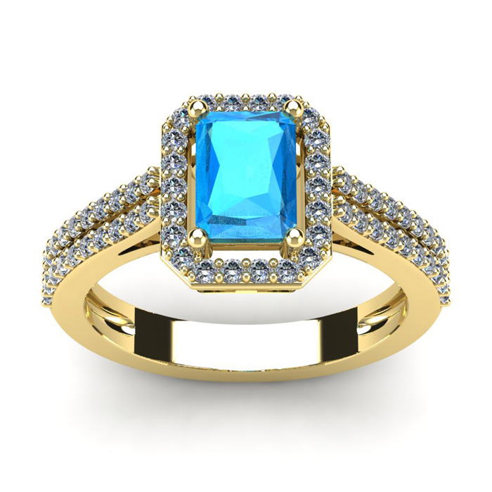 1 1/2 Carat Emerald Cut Blue Topaz and Halo Diamond Ring In 14 Karat Yellow Gold