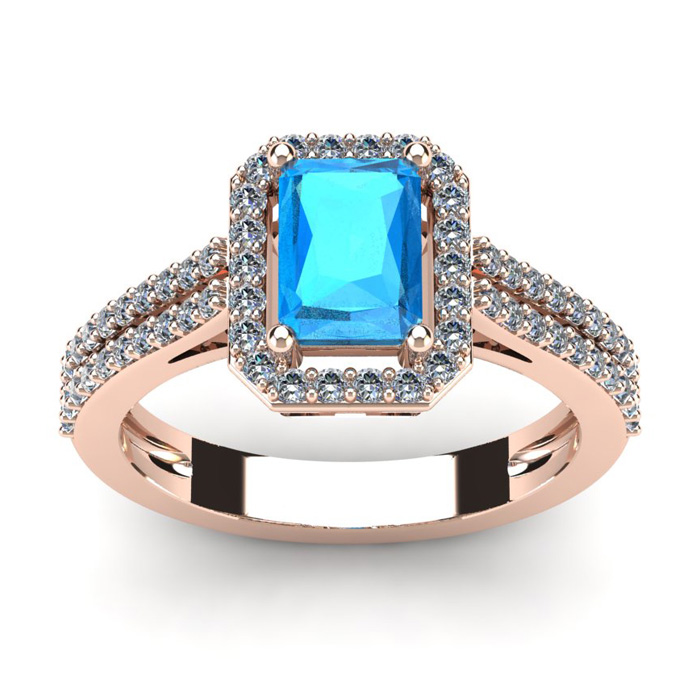 1.5 Carat Blue Topaz & Halo Diamond Ring in 14K Rose Gold (3.3 g)