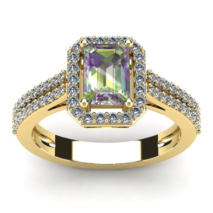 1 1/3 Carat Emerald Cut Mystic Topaz and Halo Diamond Ring In 14 Karat Yellow Gold