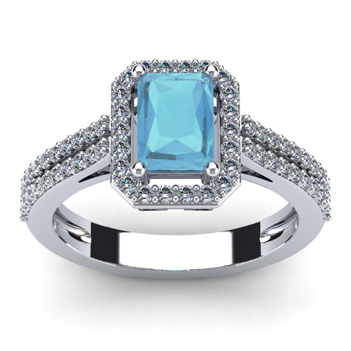 1 1/3 Carat Emerald Cut Aquamarine and Halo Diamond Ring In 14 Karat White Gold