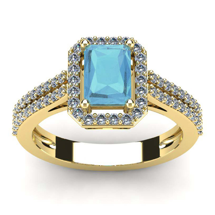 1 1/3 Carat Aquamarine & Halo Diamond Ring in 14K Yellow Gold (3.