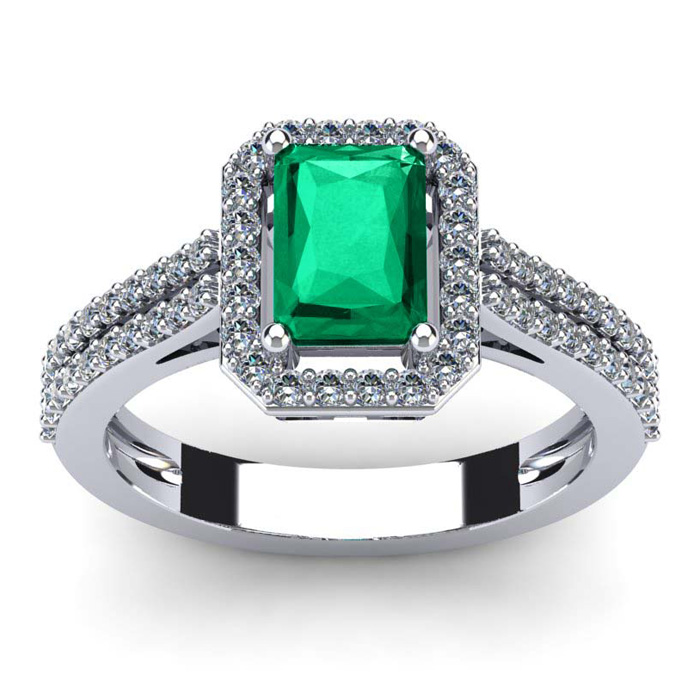 1 1/3 Carat Emerald Cut Emerald and Halo Diamond Ring In 14 Karat White Gold