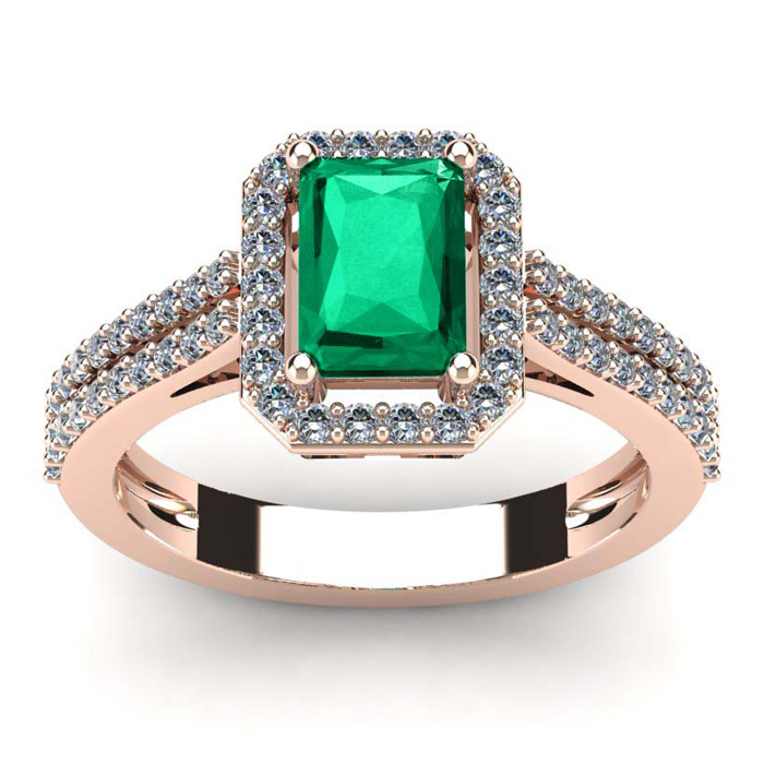 1 1/3 Carat Emerald Cut Emerald and Halo Diamond Ring In 14 Karat Rose Gold