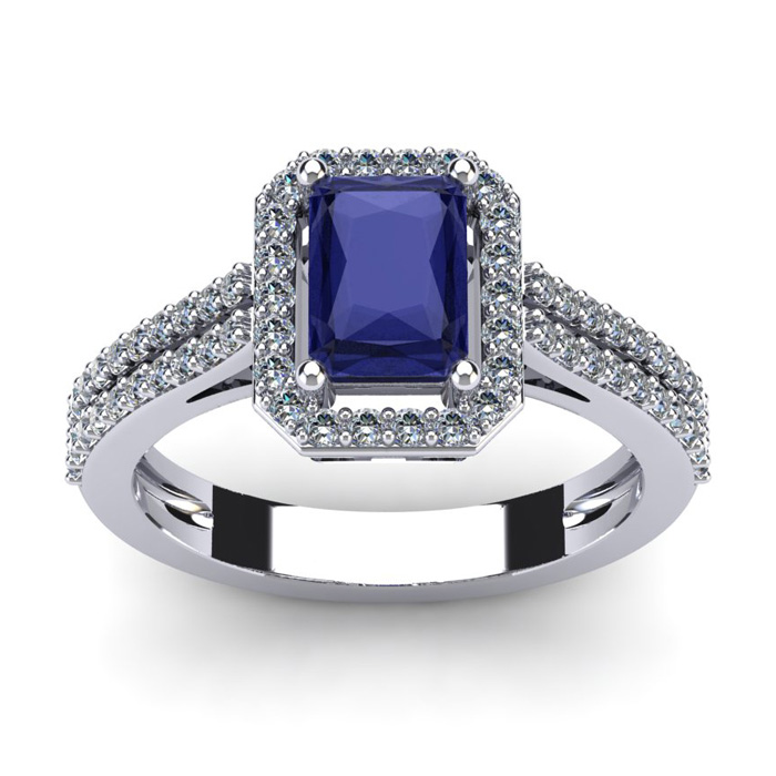 1 1/2 Carat Emerald Cut Tanzanite and Halo Diamond Ring In 14 Karat White Gold